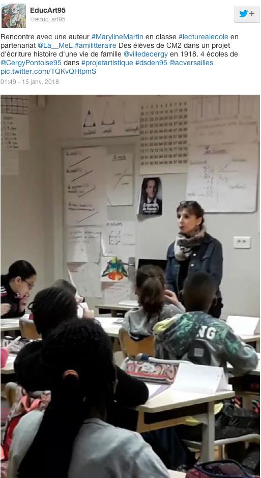 Intervention de Maryline dans une école de Cergy