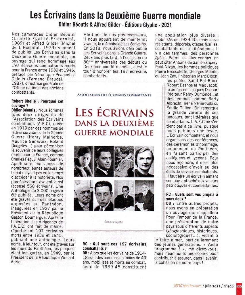 Les écrivains dans la Deuxième Guerre mondiale, Alfred Gilder, Didier Béoutis, Editions Glyphe