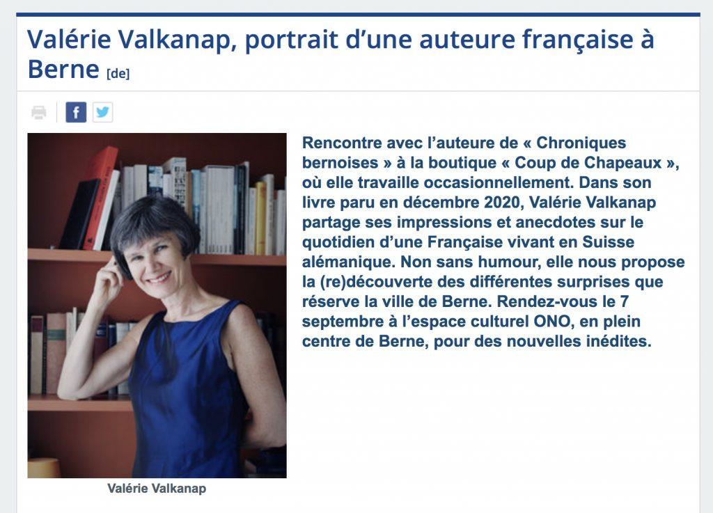 Valérie Valkanap, Editions Glyphe, chroniques bernoises, Berne